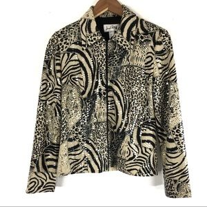 Joseph Ribkoff Jacket Animal Print Two Way Zip